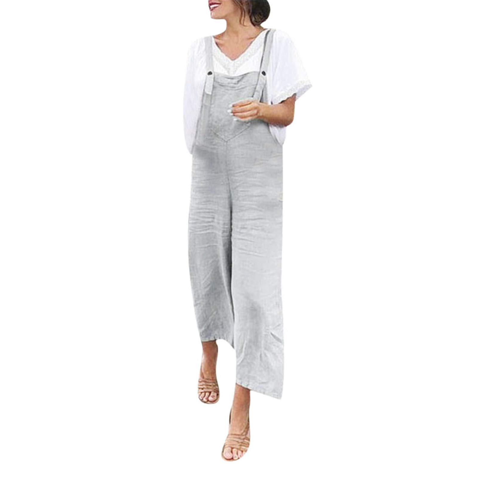Thenxin Womens Casual Jumpsuits Overalls Solid Color Baggy Bib Pants Plus Size Wide Leg Rompers (Gray,XXXL)