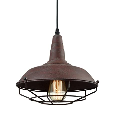 Dazhuan Industrial Nautical Barn Metal Wire Caged Pendant Light Fixture  Ceiling Pendant Lamp, Iron Cage