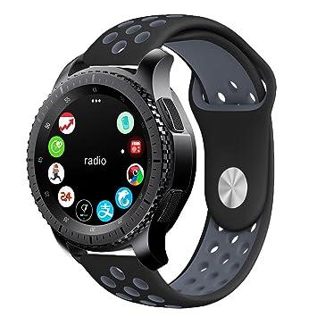 Silicona Correa para Samsung Gear S3 Frontier Reloj Correa, para Samsung Galaxy Watch Acero Inoxidable Banda de Reemplazo Tres Hebilla de Cuentas ...