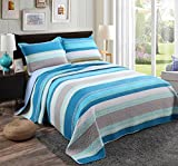 modern cotton quilt - Alicemall Blue Stripes Quilt Set 100% Cotton Soft and Breathable Blue White Gray Striped Quilt Bedspreads Set, King Size (Blue, King)