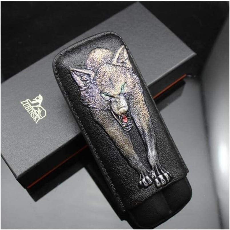 Cigar Box - Estuche de viaje para 2 cigarrillos, diseño de lobo de piel, color negro: Amazon.es: Salud y cuidado personal