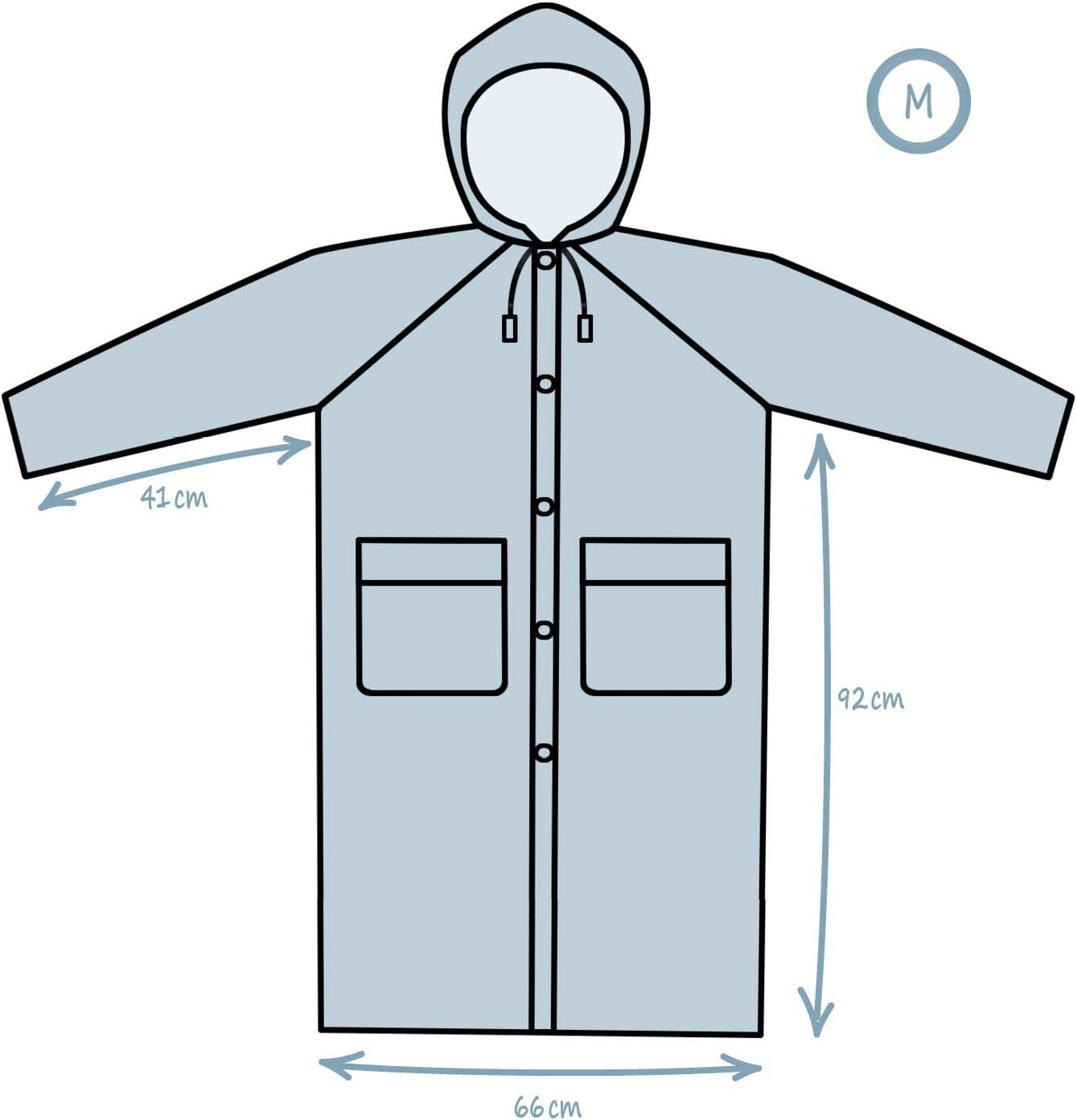 Regenschutz zu jeder Gelegenheit com-four/® Wiederverwendbarer Regenmantel transparenter Mehrweg Mantel mit Abnehmbarer Kapuze