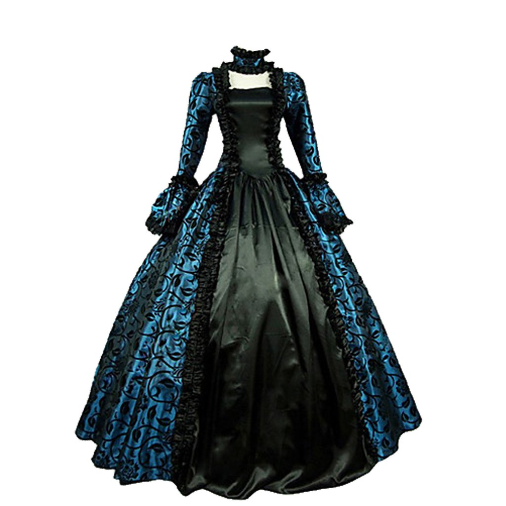 1791's lady Women's Victorian Rococo Dress Inspiration Maiden Costume NQ0032 (XL:Height65-67'' Chest42-43'' Waist33.5-35'', Black&Blue) by 1791's lady (Image #1)