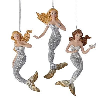 Silver and Gold Under the Sea Mermaids Christmas Holiday Ornaments Set of 3 - Amazon.com: Silver And Gold Under The Sea Mermaids Christmas Holiday