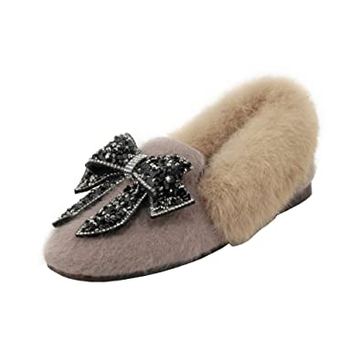6a61a9008 Amazon.com | Agodor Womens Mules Flats Faux Fur Slippers with Bowtie Slip  on Warm Sweet Shoes | Shoes