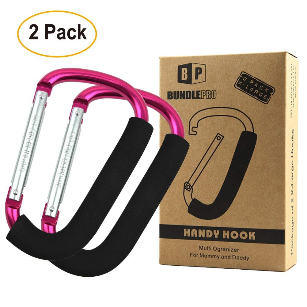 Pack of 2 XLarge Stroller Hook | Mommy Organizer for Hanging Diaper Shopping Bag (Black) BundlePro