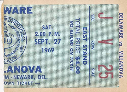 (1969 Univ of Delaware vs. Villanova College Football Game Ticket Stub 1440574)