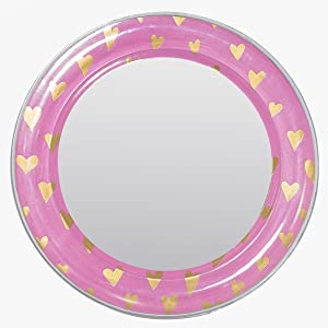 3C4G Pink with Gold Hearts Magnetic Locker Mirror