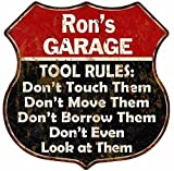 Great American Memories Ron's Garage Tool Rules Red Black Shield Sign Man Cave 12x12 Gift S125863
