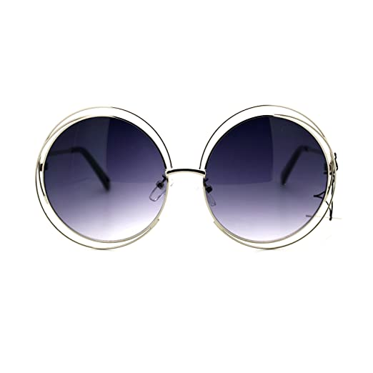 455e3101a8b Womens Sunglasses Super Oversized Round Circle Wire Metal Frame Silver
