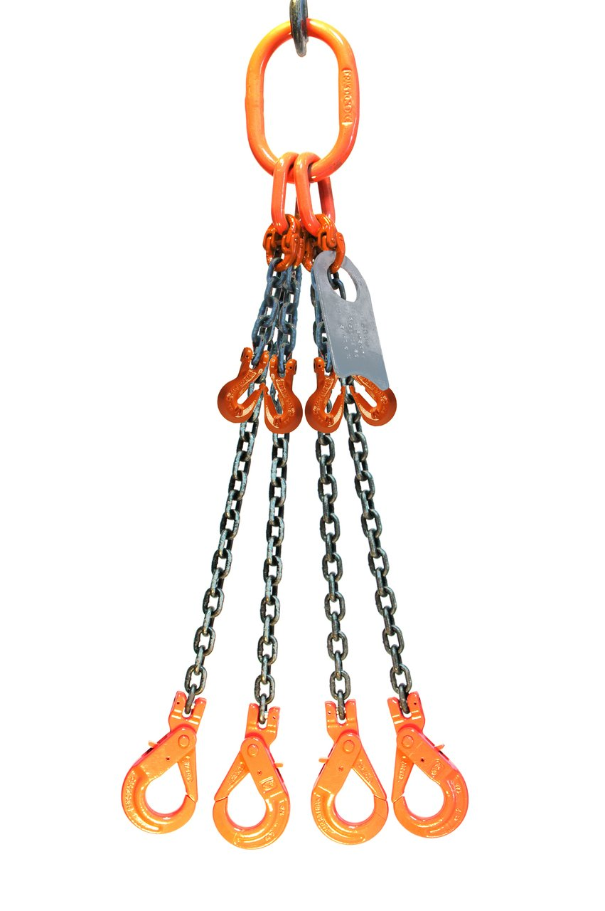 Chain Sling Grade 80 9//32 x 6 Quad Leg with Positive Locking Hooks and Adjusters
