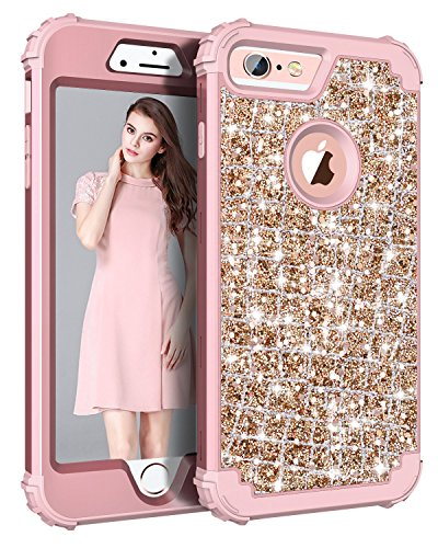 Hekodonk Compatible Phone 6s Plus Case, iPhone 6 Plus Case, 3D Luxury Sparkle Glitter Shiny Heavy Duty Shockproof Full-Body Protective Armor Hybrid Cover for Apple iPhone 6 /6s Plus - Bling Rose Gold