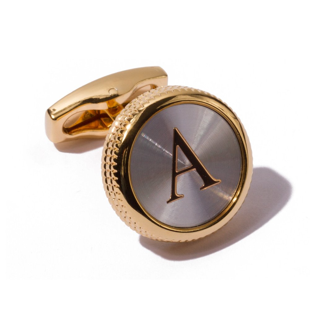 HJ Men's 2PCS Fashion Dazzle Tuxedo Shirts Platinum Plated Cufflinks Initial Letter 2 Color A-Z (Gold A)