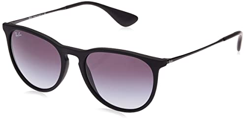 Ray-Ban RB4171 Erika Round Sunglasses, Black Rubber/Grey Gradient, 54 mm