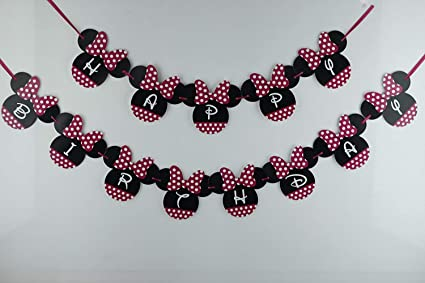 Amazon.com: Minnie Mouse Banner cumpleaños   Minnie Mouse ...