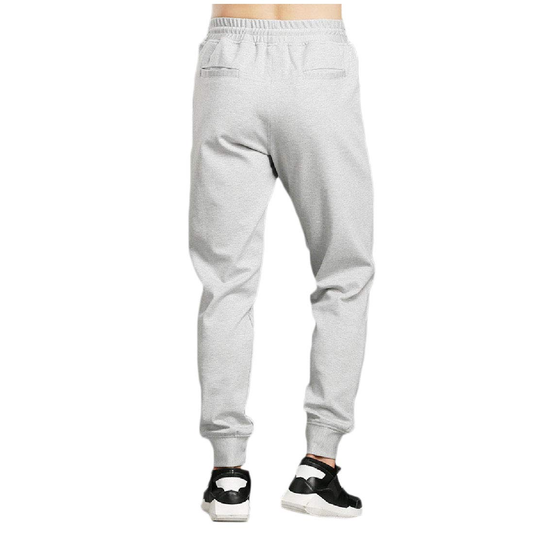 YUNY Mens Causal Solid Fitted Fall Winter Trendy Sports Jogger Trousers Grey XS