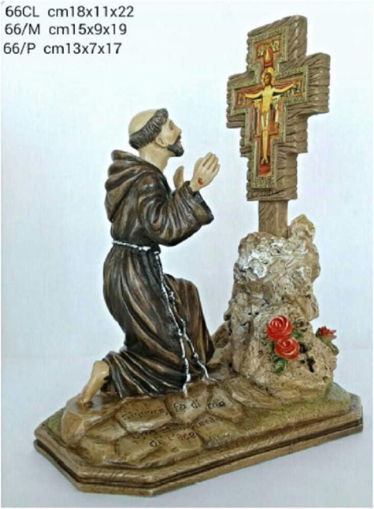 Statua in Resina e Polvere di Marmo CREART S Francesco e Il Crocifisso 18x11x22 cm