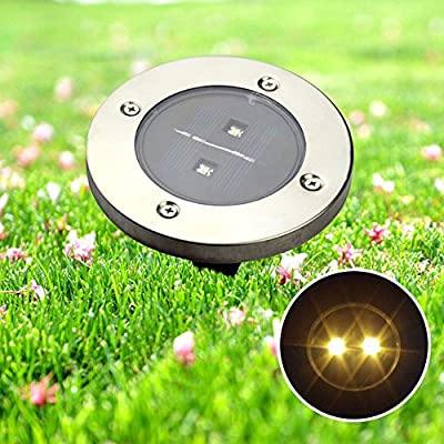 Juenana Solar Garden Ground Decking LED Light Outdoor Garden Round Fence Landscape Lamp