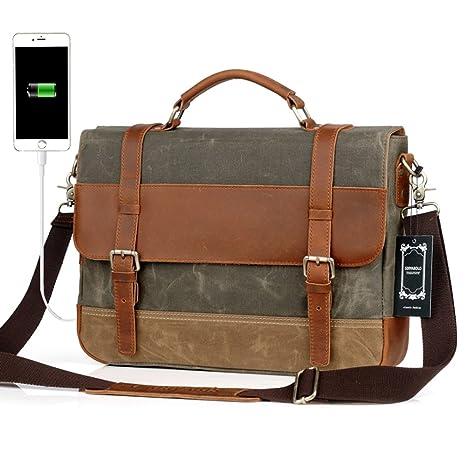 Men Messenger Laptop Bag Large Capacity Genuine Leather Canvas Waterproof  Vintage Shoulder Bags Vintage Satchel and 2de3f56231