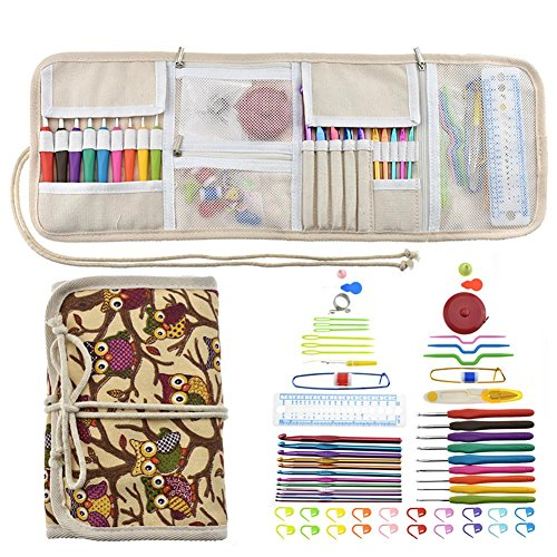 VOVI Sewing Kit with Mini Knitting Needle Tread Clothing Repairs Set Case and Grandma's Sewing Supplies with Scissors,Thimble, Thread, Needles for Emergency(64 PCS)