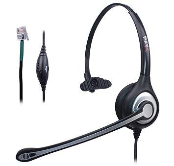 Auriculares Teléfono Fijo Cableados Mono, Micrófono con Cancelación de Ruido, WANTEK Cascos con Control