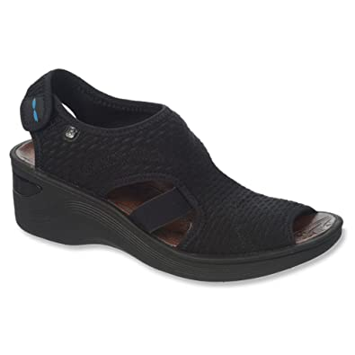 BZees Womens, Dream Mid Heel Sandal Black 5.5 M
