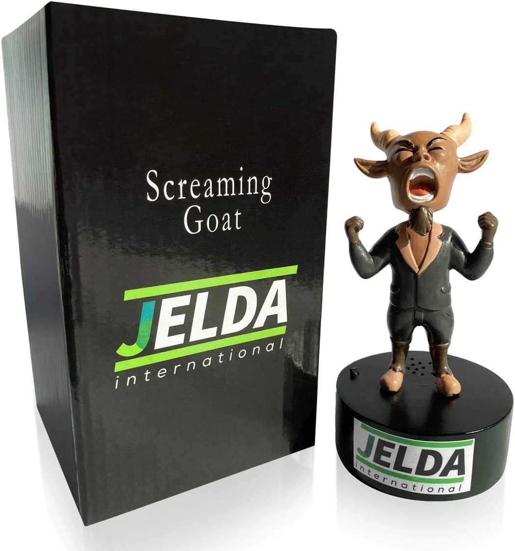 JELDA's Screaming Goat Desk Toy - Mini Figurine with Multiple Funny Sounds and Adjustable Volume | Office Stress Relief | White Elephant Novelty Gag Gift - Secret Santa | Desk Accessory