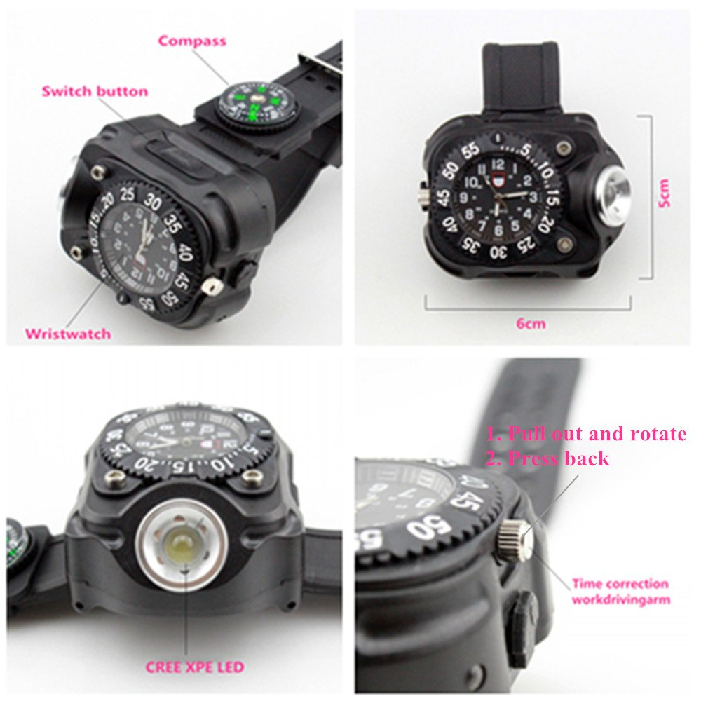 Rechargeable 350 Lumens Led Torch Wrist Light, WaterproofWatch Flashlightwith Compass Tactical Flashlights for Outdoor Running, Hiking, Camping, Biking, Mountain Climbing for Birthday Gift by Fire Eyes-DIY (Image #4)