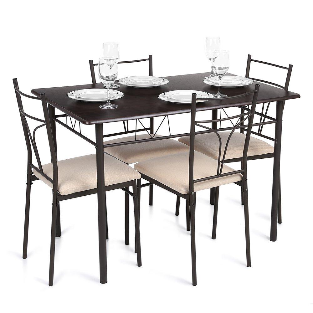 iKayaa 5 Stück Tisch & Stuhl-Set: Amazon.de: Küche & Haushalt