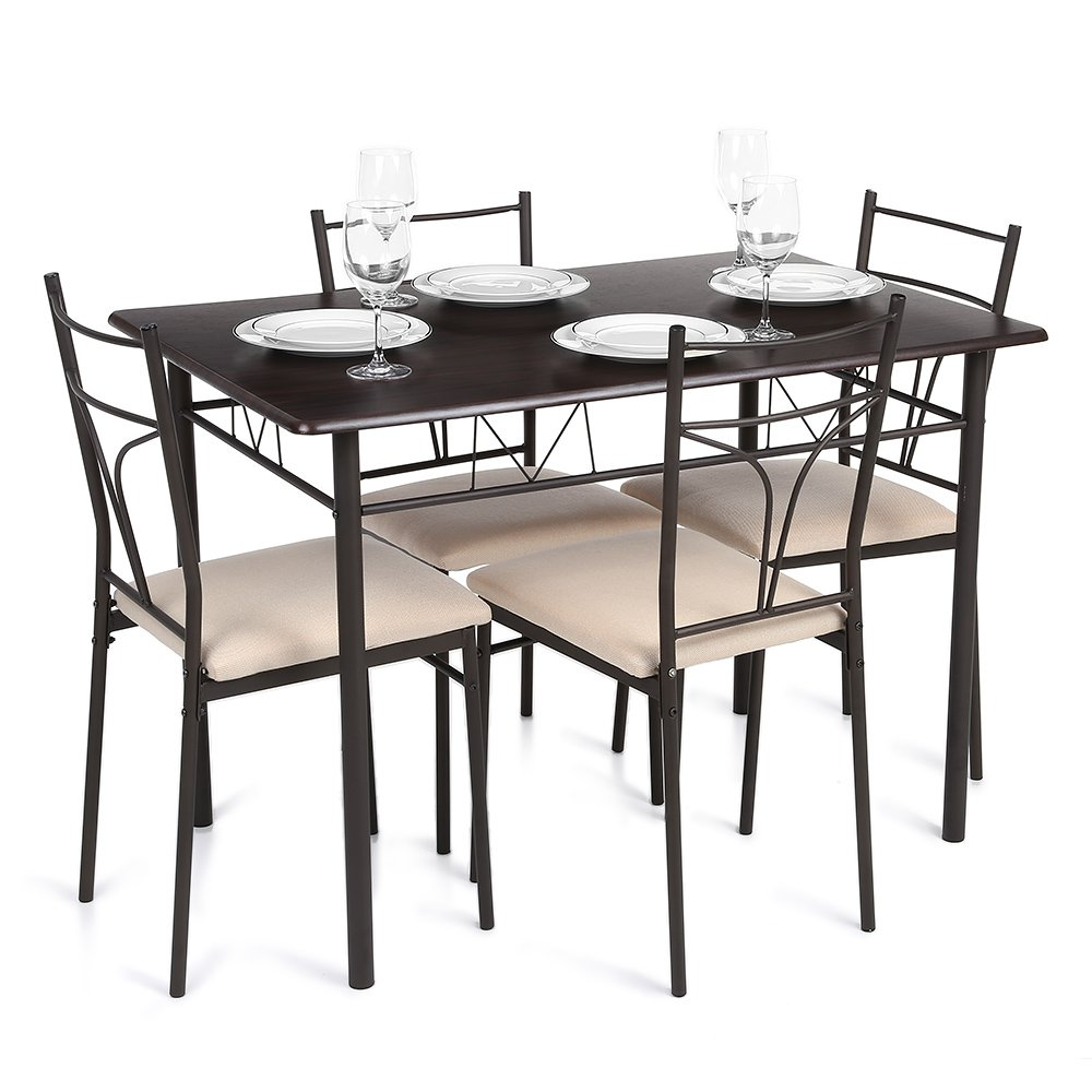IKAYAA Dining Table Set Modern Kitchen Table with 4 Chairs Home Dining Room Furniture
