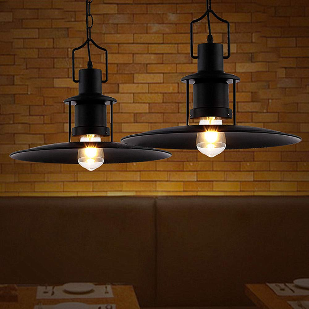 Ladiqi Industrial Hanging Pendant Light Black Vintage Hanging Lighting Fixture with Creative Saucer Shade for Restaurant Cafeteria Buffet by Ladiqi (Image #3)