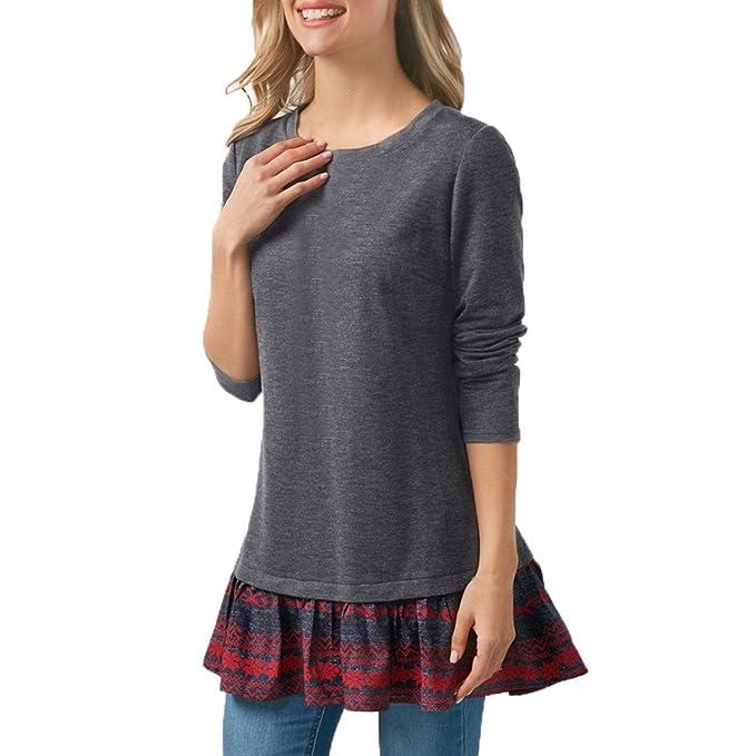 Koly Mujeres Casual primavera Algodón O cuello Stitching manga larga de Camisetas y tops Blusas y