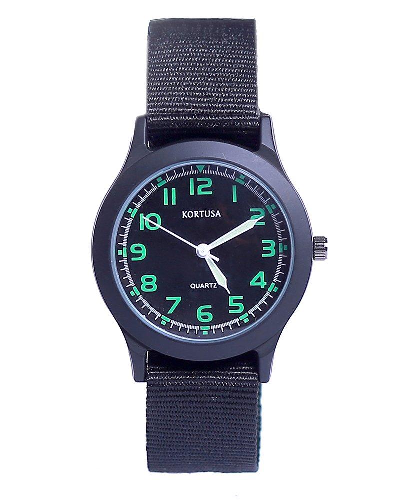 School Kids Army Military Wrist Watch Time Teacher Luminous Watch with Nylon Strap Black by Kortusa