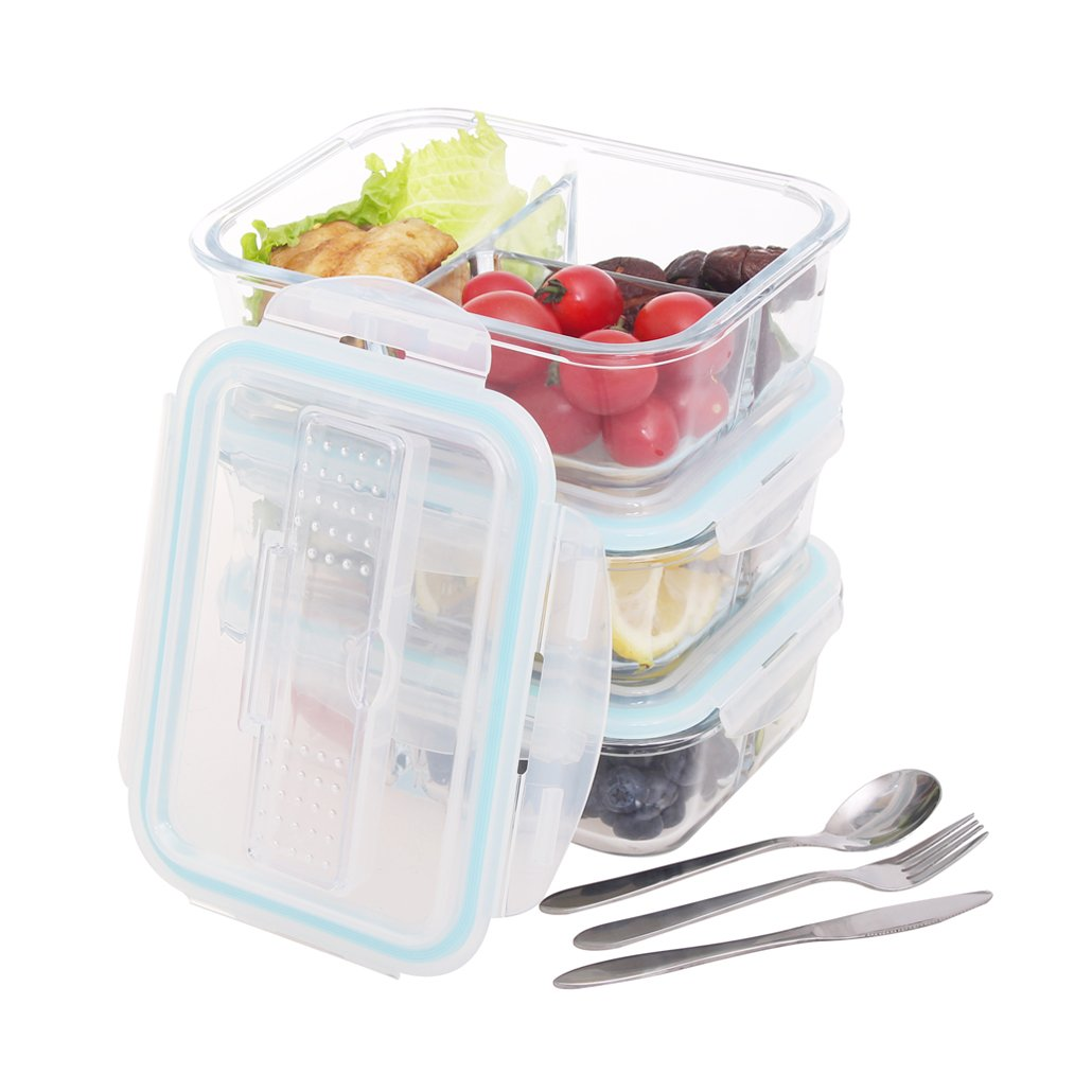 Glass Food Storage Containers 18 Pieces Set (9 Containers+9 Lids)Glass Lunch Containers Airtight Food Storage Meal Prep Containers with Lids BPA-Free, for Home Kitchen or Restaurant coccot