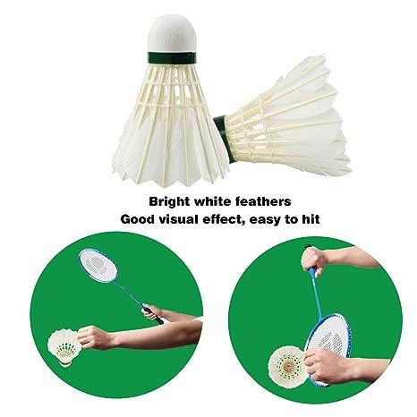 Bádminton,Buluri 12-Pack Bolas de bádminton natural de pluma de ganso de alta velocidad con gran elasticidad y durabilidad para deportes al aire libre ...