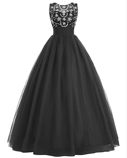 Bridesmay Womens Long Tulle Prom Dress Beaded Fluffy Wedding Dress Black UK Size 6