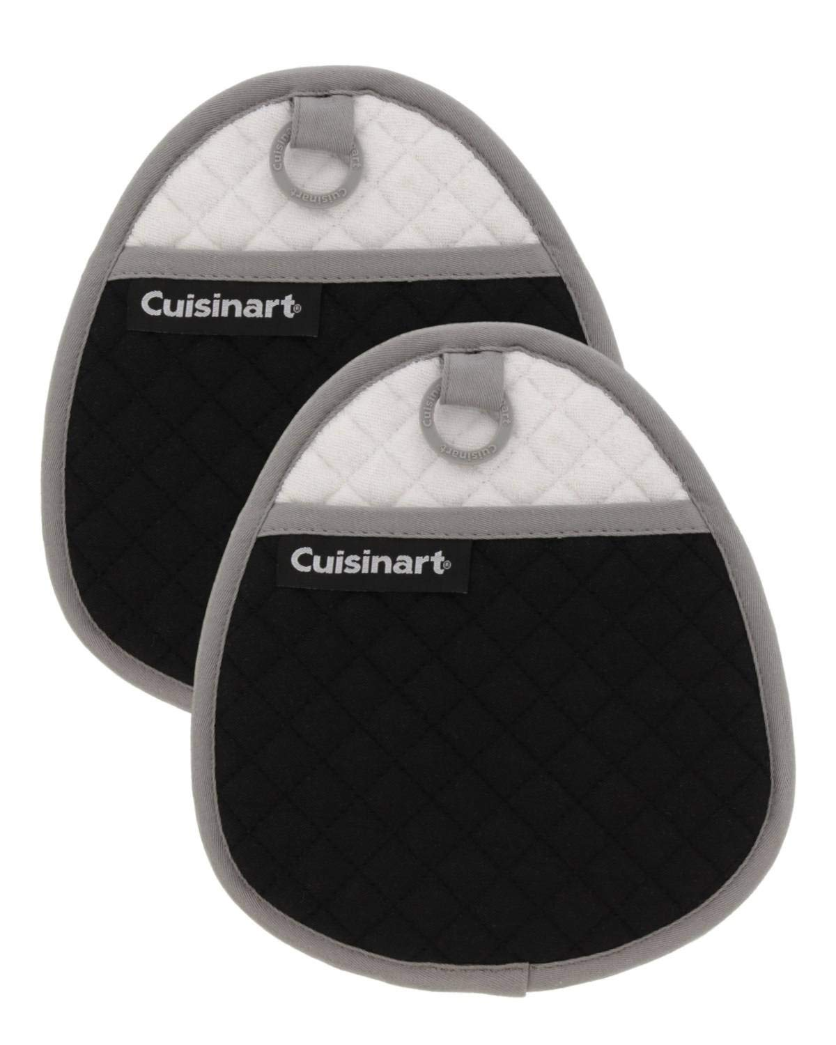 Cuisinart Quilted Silicone Potholders & Oven Mitts - Heat Resistant up to 500° F, Handle Hot Oven/Cooking Items Safely - Soft Insulated Pockets, Non-Slip Grip w/Hanging Loop, Jet Black- 2pk