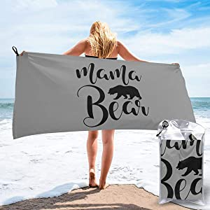 "Create Magic Mama Bear Microfiber Towel Perfect Travel & Sports &Beach Towel Fast Drying - Super Absorbent - Ultra Compact, 31.5""x63"""