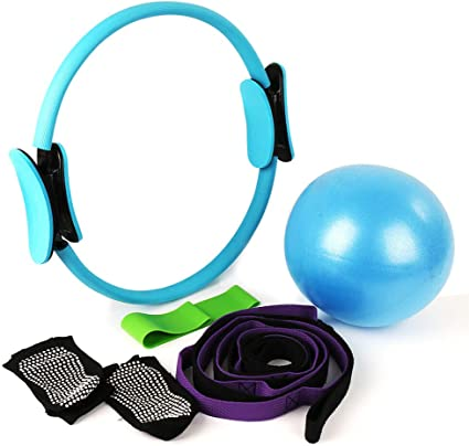 MANLI 15Pilates Ring Set,Yoga Fitness Circle,Resistance Loop Exercise Band,Pilates Ball,Stretch Strap,Non Slip Skid Socks,Top Choice of Physical ...