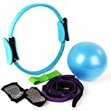 MANLI 15'Pilates Ring Set,Yoga Fitness Circle,Resistance Loop Exercise Band,Pilates Ball,Stretch Strap,Non Slip Skid Socks,Top Choice of Physical Therapists & Athletic Trainers
