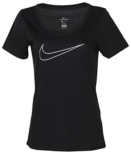 Nike Women/'s Dri-Fit Just Do It Graphic Scoop Tee black white