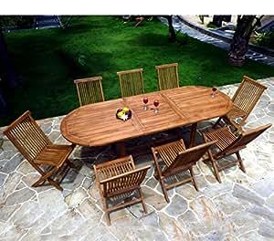 Salón de jardín de teca aceitada para 8–10personas–mesa ovalada