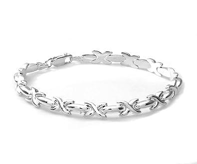 Citerna Diamond Shape Link Sterling Silver Bracelet of 18.4 cm E1alcyz