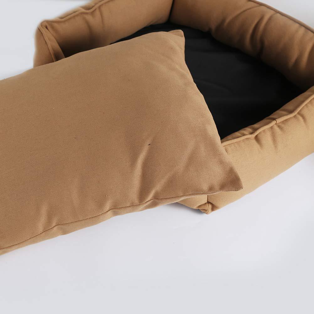 Fuxitoggo Superweiches rechteckiges Haustier-Bett-Hunde-Katzen Kissen-Kissen-Baumwollsegeltuch mit entfernbarem Kissen-Kissen-Baumwollsegeltuch Haustier-Bett-Hunde-Katzen braun-Wahl der Größe 65  55  18Cm (Farbe   - Größe   -) b5db07