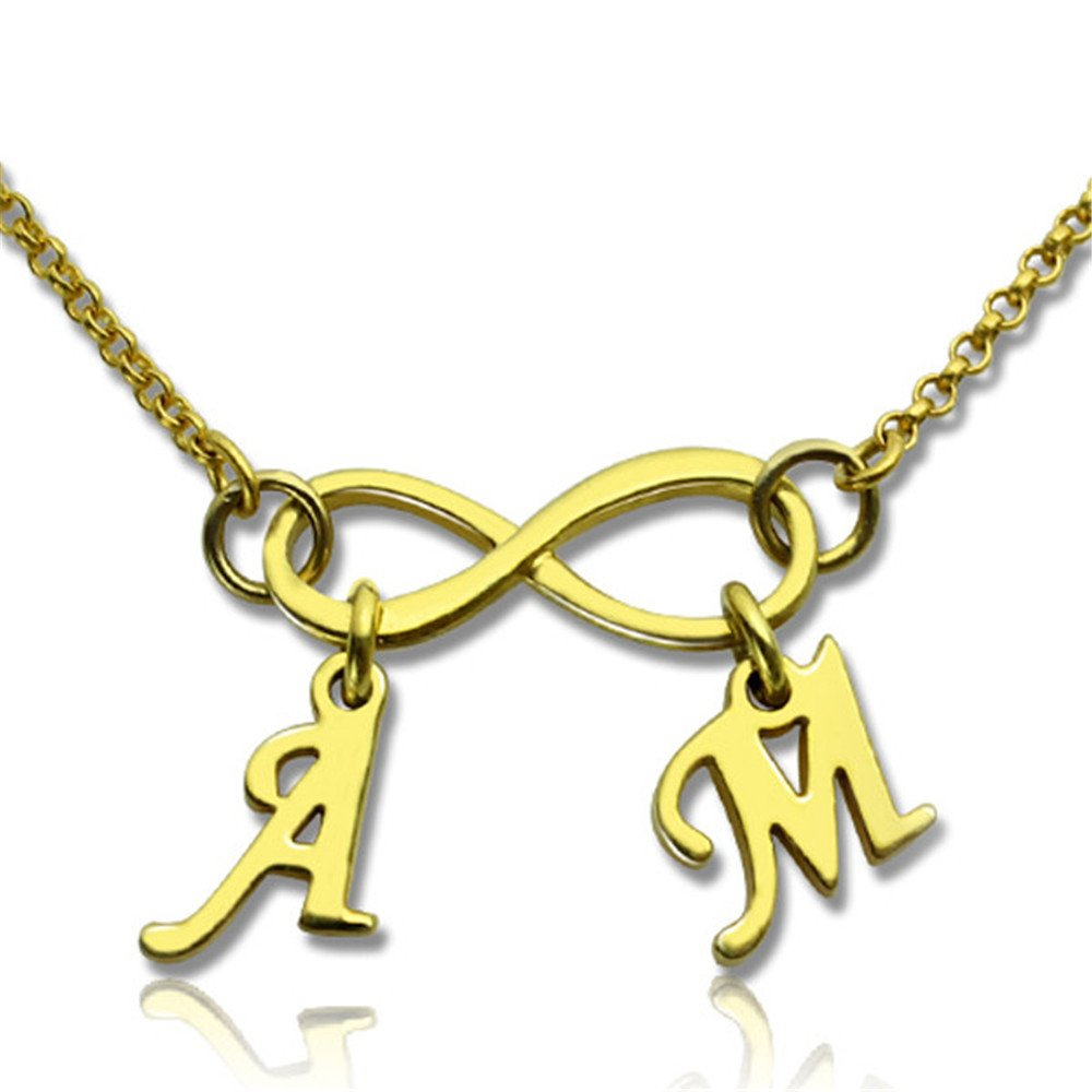 Yandam Infinity Necklace Custom Double Initials Fashion Womens Custom Necklaces