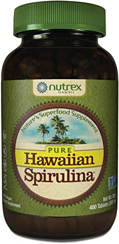 Pure Hawaiian Spirulina-500 mg Tablets 400 Count – Natural Premium Spirulina from Hawaii – Vegan, Non-GMO, Immunity Support – Superfood Supplement Natural Multivitamin
