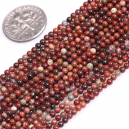 (2mm Round Mixed- Red Jasper Seed Beads Strand 15 Inches Jewelry Making Beads)