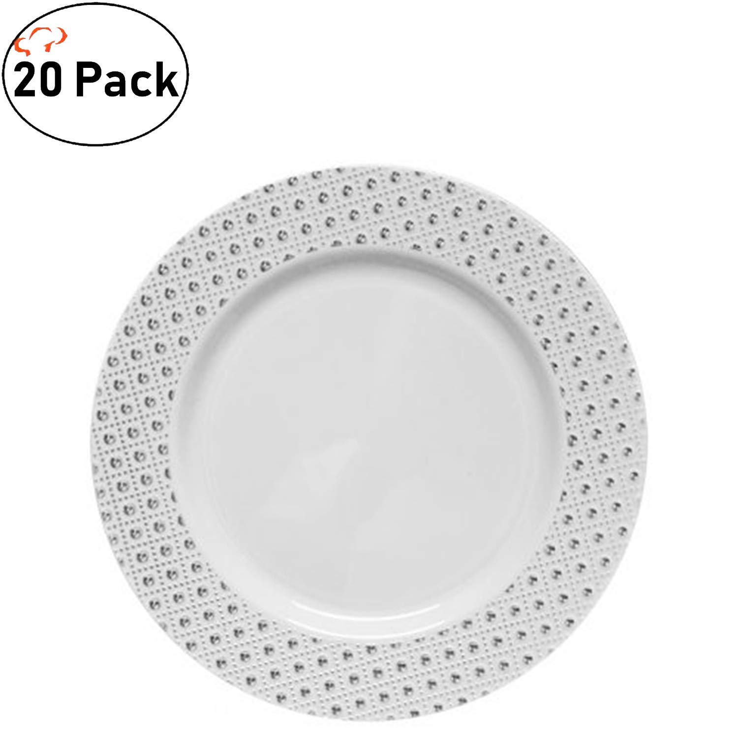 TigerChef 10.25 Inch Silver Heavy Duty Plastic Burst Collection Designed Dinnerware Dinner Plates Pack Of 20 (10.25'' Plates, Silver)