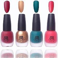 Makeup Mania Premium Nail Polish Velvet Matte Nail Paint Combo (Maroon, Golden, Green, Pink, Pack of 4)