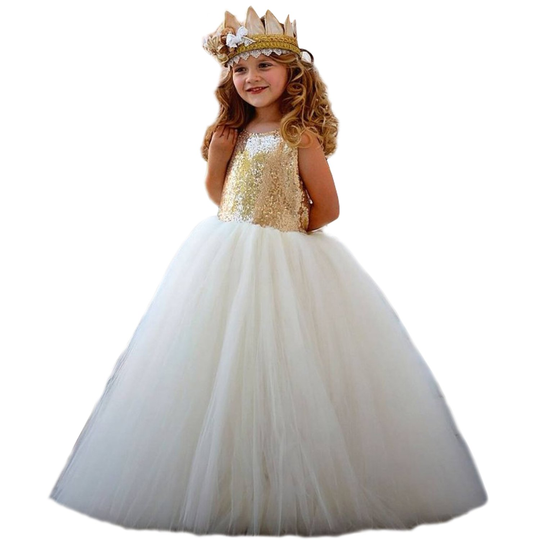 dressvip Dressvip Weißes Tulle Blumen Mädchen Kleid mit Gold Sequins ...